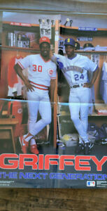 1989 COSTACOS BROS KEN GRIFFEY SR & JR NEXT GENERATION POSTER MARINERS REDS