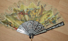 older Spanish Hand Fan Lace detailed portrait Fabric Floral outdoor scene lovely