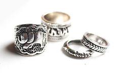 Elephant animal tribal tibetan silver ring set band & midi. Boho/vintage/hippy