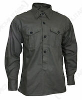 German Army MILITARY FIELD SHIRT Hemden - All Sizes Field Grey Cotton WW2 Repro