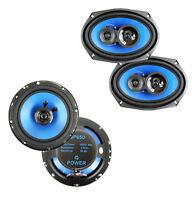"""Q Power 6x9-Inch 500W 3-Way Speakers (2) + 6.5"""" 300W 2-Way Car Speakers (2)"""