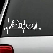 K1096 Music Notes Heartbeat Decal Sticker Marching Band Guitar, Bass Treble Clef