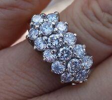 1.80cts H-G/Si1 diamond vintage 3 row right-hand ring wedding band 6g sz 6.5