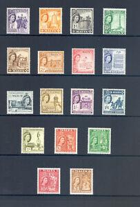 MALTA SG 266-282 GVI 1956-57  DEFINITIVE SET OF 17 MNH