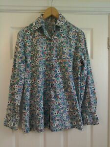 Vintage Liberty Of London Shirt Blouse Size 40 Approx 10-12 Blue Poppy Floral