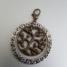 Round Medallion Bodhi Tree of Life and Love Clip Charm Pendant Silver Ant Gold