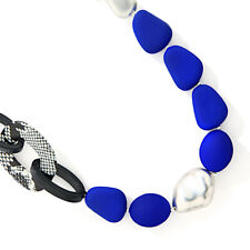 "Statement Fashion Jewellery: 22""/56cm Necklace with Royal Blue Neoprene Rubbe..."