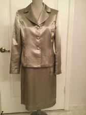 Kasper Golden Tan Evening Beaded Blazer Suit Skirt Size 10