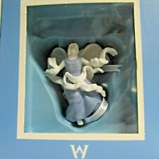 Wedgwood Angel Figurine Ornament White & Blue Jasperware Open Arms