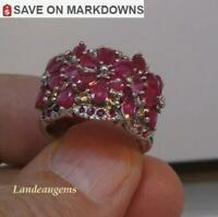 4 ct  FLOWER RUBY STERLING SILVER RING
