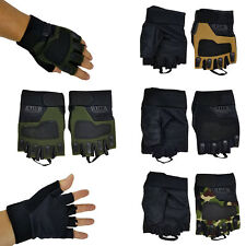 Mens Fingerless Gloves  Bike Cycling Gym Sports  Half Finger M/L