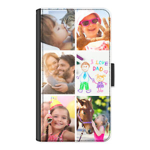 Personalised Phone Case For Motorola G/E/C, Photo Collage PU Leather Flip Cover