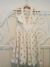 French Connection Cream Halterneck Gold Spot Dress Size 8