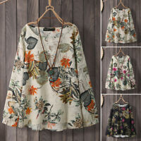 UK Women Long Sleeve O Neck Vintage Floral Printed Top Blouse Casual Loose Shirt