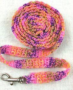 DOG LEASH NEON PINK PURPLE GREEN crochet 4 1/2  ft w/metal swivel bolt snap 635