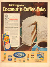 1955 vintage Bake AD,  DURKEE COCONUT and Coffee Cake looks Delicious!  (110314)