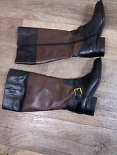 LAUREN by Ralph Lauren MELANY BOOT'S LADY W Leather Black/Brown Knee,Size 7(B)
