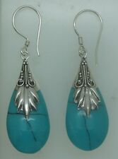 Handcrafted Simulated Turquoise in 925 Silver Teardrop Dangle Earrings #A51