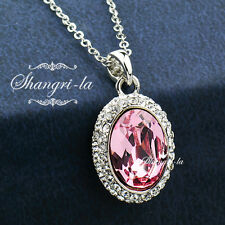 9K White GOLD GF PINK Oval FULL CRYSTAL NECKLACE SWAROVSKI Lab DIAMOND NY2668PI