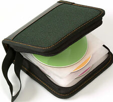 NEW BIB-503 FAUX LEATHER & NYLON STORAGE CASE FOR 28 CD'S DVD'S BLU-RAY DISKS