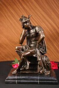 Medieval Knight Spartan Helmet Gold 100% Real Bronze Roman Warrior Greek Figure