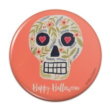 Happy Halloween Fun Floral Skull Compact Pocket Purse Hand Makeup Mirror