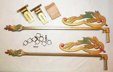 2 Curtain Swing Rods Metal Leaves Scrolls Gold Green Pink Complete Vintage #1