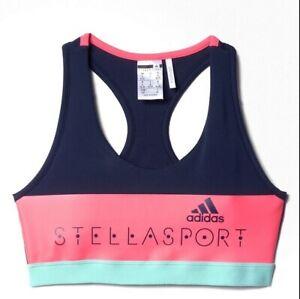 Adidas Stella Mccartney Girl Sports Bra Compression Bustier Top Crop Blue/Pink