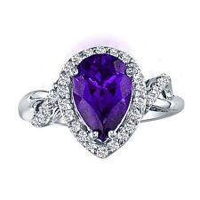 14K WHITE GOLD 2.75CT PEAR SHAPE AMETHYST AND DIAMOND FLIP SHANK RING, SZ-7