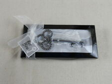 Decorative Silver-Tone Key With White Tassel -  Bottle Opener - Wedding Favor