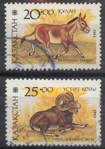 Kazakhstan 1993 Mammals: Wild ass & Mouflon SG 32-33 used *COMBINED POSTAGE*
