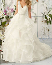 Sleeveless V neck a-line lace organza White/Ivory Wedding Dress Bridal Gown new