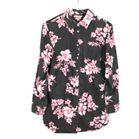 Soft Surroundings Womens Faded Black Floral Button Tunic Size Small Long Sleeve