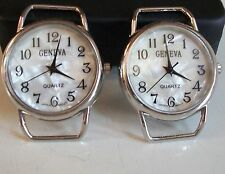 WOMEN'S SET OF 2 SILVER FINISH WATCH FACES FOR BEADING,RIBBON OR OTHER USE