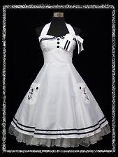 dress190 WHITE HALTER 50's PINUP ROCKABILLY VTG COCKTAIL PROM PARTY DRESS 20-22