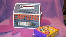 HANDMADE PLASTIC CANVAS CRAYON BOX  GRAY