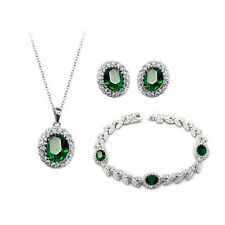 18K WHITE G/P CUBIC ZIRCONIA EMERALD GREEN NECKLACE, BRACELET & EARRING  SET