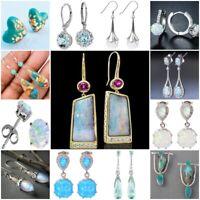 925 Silver White Opal Aquamarine Earrings Ear Studs Hook Drop Women Jewelry Gift