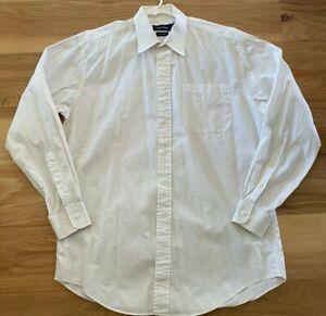 Nautica White Classic Button-Up Long Sleeve 100% Cotton Dress Shirt SZ 16 34/35