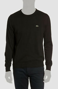 $135 Lacoste Men's Black Long Sleeve Crew-Neck Croc Logo Rib Sweater Size 7/XXL