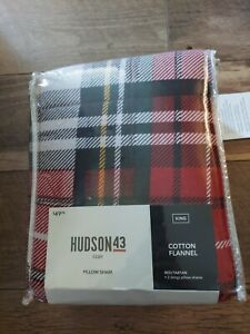 Hudson43 Cotton Flannel King Size Pillow Shams 2 Red NWT