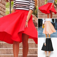 Fashion Women Solid Below-knee Pleated Skirt Casual Large Swing Stretch Skirts