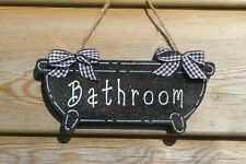Lovely Decorative Handcrafted White/Black  BATHROOM Sign