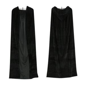 Adult Velvet Hooded Cloak Cape Extra Long Black Deluxe Halloween Vampire Costume