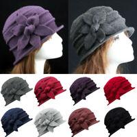 US Women Ladies Warm Vintage Elegant Wool Flower Felt Hat Cloche Bucket Cap