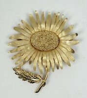 """Marvella Signed Daisy Pin Brooch Gold Tone Metal 2 3/4"""" H x  2 1/4"""" W"""
