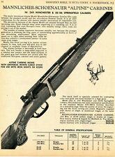 1968 Print Ad of Mannlicher-Schoenauer Alpine .243 & 30/06 Carbine Rifle