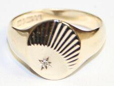 Gents Vintage 9ct Gold Diamond Set Signet Ring Size V