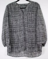 Covington Women's Semi-Sheer Geometric Print Blouse Roll Tab Sleeve Size Large