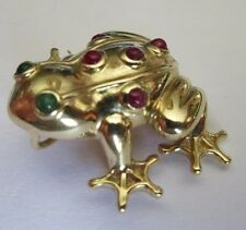 14K GOLD, RUBY AND EMERALD FROG PENDANT/BROOCH, ESTATE